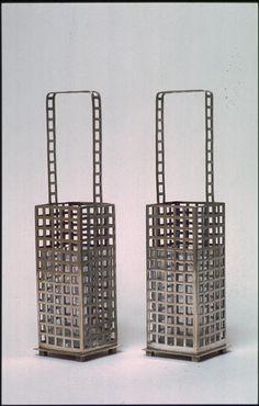 Vases  Josef Hoffmann, Hans Ofner for Wiener Werkstatte  Silver Plated Metal w/ Glass Liners.  1905