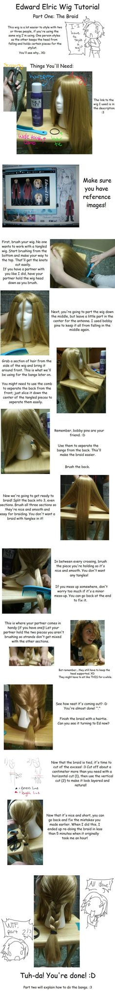 For Ed Elric, obviously. Edward Wig Tutorial: Pt. 1 by SakiRee