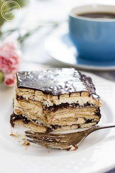 Stefanka - ciasto na herbatnikach z grysikiem i powidłami śliwkowymi