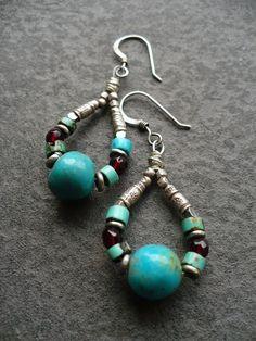 LIFE CIRCLE-handmade sterling and gemstone earrings. $36.00, via Etsy.