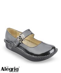 I NEED these for work! Birthday is coming up soon.... *hint, hint*  Alegria Shoes Charcoal Patent Leather Clog with Bling Skull Pendant