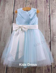 A-line Scoop Floor-length Tulle Satin Pretty Flower Girl Dress With Sash