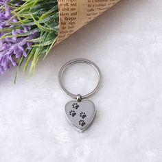 Four Paw Prints Pet Cremation Jewelry Stainless Steel Heart Urn Keychain Pendant 316L Stainless Steel