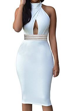 Sexy Womens Elegant Jeweled Waist Halter Party Club Midi Dress Small White * Continue to the product at the image link.