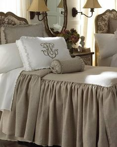 great drop on the bed covering.. taupe my favorite color.. super monogram on the boxed pillow