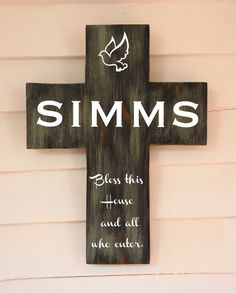Family Last Name Personalized Family Pine Wood Cross. Bless this House and all who enter.  by Frameyourstory,