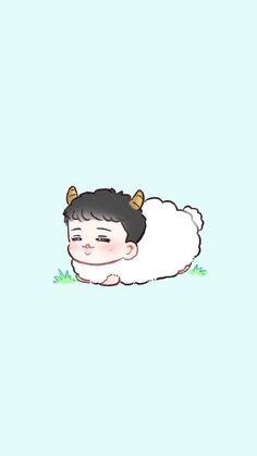 Lay is so soft oml Baekhyun, Exo Kokobop, Kpop Exo, Exo Cartoon, Cute Lockscreens, 5 Years With Exo, Exo Fan Art, Exo Lockscreen, Kim Minseok
