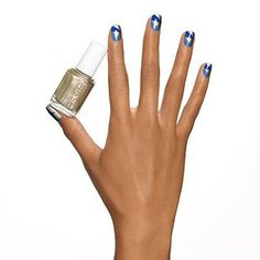 mixed+metals+by+essie - shine+on+in+this+nail+design+that+mixes+winning+metallics+with+two+bold+tones+of+blue.