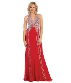 Red Sequin Halter Full Length Dress