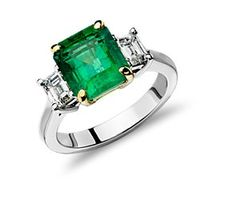 Emerald and Diamond Ring in Platinum (3.10 ct. tw.)