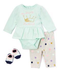 Green & Taupe 'Her Majesty' Bodysuit Set - Infant #zulily #zulilyfinds