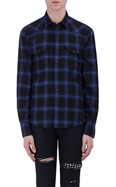 SAINT LAURENT Checked Cotton-Blend Western Shirt. #saintlaurent #cloth #all