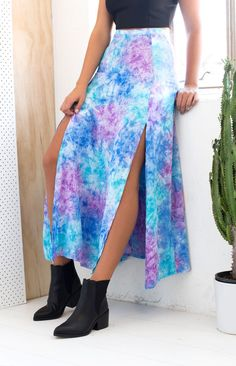 Natalie Maxi Skirt Blue And Purple Tie Dye | Beginning Boutique