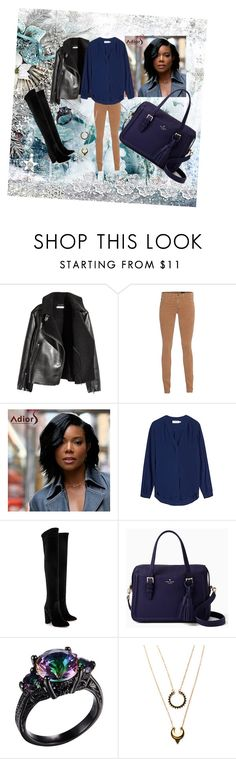 """""""#24"""" by bad-wolf-18 ❤ liked on Polyvore featuring AG Adriano Goldschmied, Velvet, Aquazzura, Kate Spade and WithChic"""
