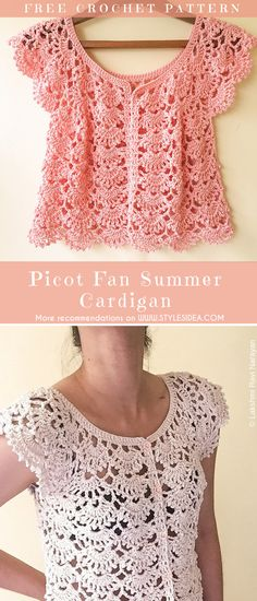 Picot Cardigan Free Crochet Pattern | Crafts Ideas