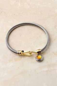 Classic Citrine Cable Cuff | Silver & Gold & Citrine | love that hook clasp