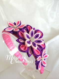 Pink girl headband girl headband Kanzashi por MagaroCreations