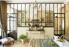 atelier entre le salon et la cuisine, would be good with frosted glass for an ensuite Kitchen Canopy, Interior Decorating, Interior Design, Internal Doors, Home Fashion, Interior Architecture, Small Spaces, Living Spaces, Family Room