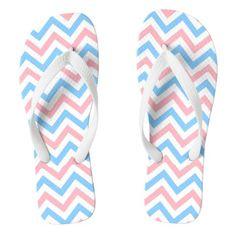 Pink Sky Blue White Large Chevron ZigZag Pattern Flip Flops #chevron #patterned #footwear #fashion
