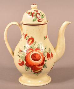 18th Century Creamware Rose Pattern Teapot. : Lot 117