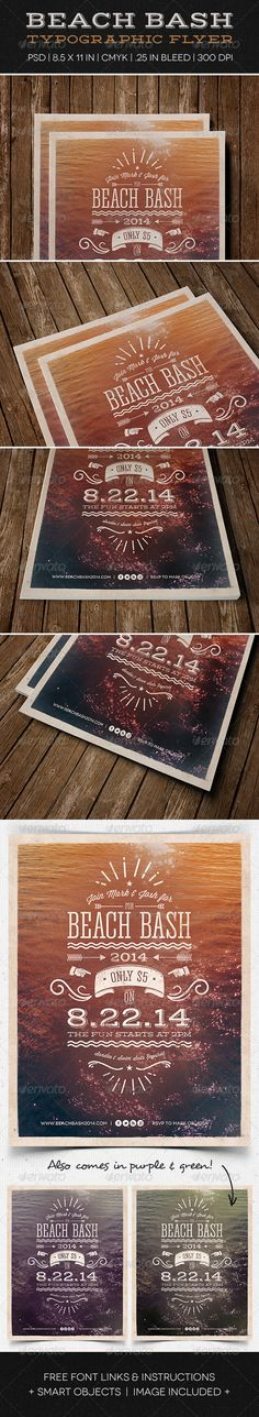 Beach Bash Typographic Flyer — Photoshop PSD #flyer #bright • Available here → https://graphicriver.net/item/beach-bash-typographic-flyer/5136161?ref=pxcr