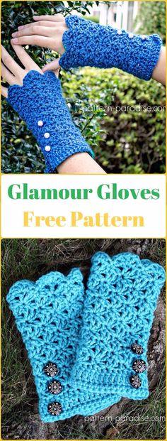 Crochet Glamour Gloves Free Pattern - Crochet Arm Warmer Free Patterns