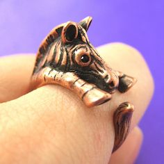 Realistic Zebra Animal Wrap Around Hug Ring
