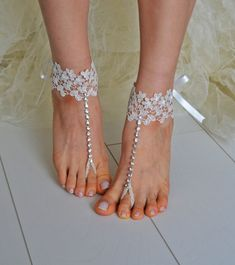 beach shoes,Unique design, bridal sandals, ivory accessories, wedding shoes, handmade lariat sandals, wedding bridal, on Etsy, $25.00
