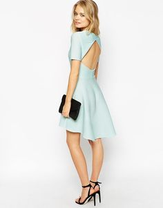 ASOS | ASOS Skater Dress in Texture With Cut Out Back en ASOS
