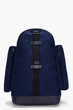 73cc200f05 GIVENCHY Navy Felt and Leather Backpack Contrast perforated black textile  panel at back with slight padding