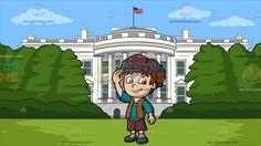 A Friendly Medieval Boy At White House South Lawn:  A peasant boy with brown hair wearing an oversized reddish brown cap torn shorts green shirt brown vest gray socks and dark gray shoes smiles while raising his right hand to fix the brim of his cap. Set in the back view of the most famous landmark in the united states which houses the president made of white concrete with columns and multiple windows and the us flag raised in the top center of the building situated in the lush green large…