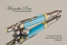 Gorgeous lines and curves are the hallmark of this handmade Turquoise / Gold TruStone ballpoint pen! Trimmed in a Black Titanium finish, it is sure to turn heads! Be careful, everyone is going to want to borrow your pen!