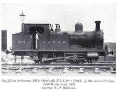 320<br> Manson 272 Class 0-4-0T<br> Built; 1909<br> History;  G&SWR 277 (1909) 320 (1919), LMS 16048 (1923)<br> LMS Power Class 2P<br> Withdrawn 1930, scrapped 1931 at Kilmarnock Works<br> <i>At Ardrossan</i>