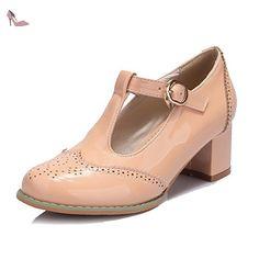 VogueZone009 Femme Verni Rond à Talon Correct Boucle Couleur Unie Chaussures Légeres, Abricot, 37 - Chaussures voguezone009 (*Partner-Link)