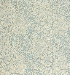 Marigold Linen Fabric Originally this was printed as a wallpaper but transfers well on to linen union.  China blue floral design printed on ...