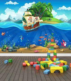 Pirata nave mundo submarino pared foto murales por WallArtDesire