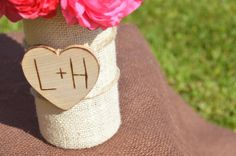 Personalized Glass Burlap and Wood Vase Centerpiece via Green Giving Tree. Click on the image to see more!