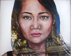 Realistic Acrylic Painting on Canvas, Portrait of Beautiful Asian Girl Wind Hair and Vancouver Gastown City Night Yellow Lights Scene 16x20 by KatherineBrownStudio on Etsy https://www.etsy.com/ca/listing/259340497/realistic-acrylic-painting-on-canvas