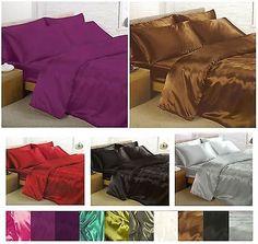 satin bedding sets 6 piece set duvet cover fitted sheet pillowcases in home furniture u0026 diy bedding bed linens u0026 sets