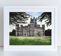 Downton Abbey Highclere Castle Giclee Print of Watercolor Painting 8 x 10, 11 x 14 inches Fine Art Poster PBS Lady Mary Crawley England Britain Masterpiece Theater Gift for Her. Giclee print of original watercolor of the Downton Abbey estate, the backdrop of Edwardian upper class drama so brilliantly brought to life, through the turbulent shift of Edwardian Era to Jazz Age, romances here and gone, and rethinking of what it means to preside over the vast estate Great as a gift for a…