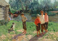arkady plastov | Troika (kids near river). Arkady Alexandrovich PLASTOV