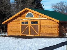 Kelly built this beautiful 32' x 32' log barn. Chinking will be done in the spring. #hm126 #sawmill #logbarn #barn #woodlandmills #lumber #timber #dovetail #handmade #forestry #newconstruction #discoverthewoodland Painting Galvanized Steel, Bandsaw Mill, Steel Channel, Powder Coat Paint, Dove Tail, Water Drip, Small Engine, Building A Shed, New Construction