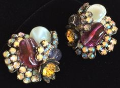 Stunning Vintage Miriam Haskell Earrings~Multicolor~Glass/RS/Antiqued Silvertone #MiriamHaskell