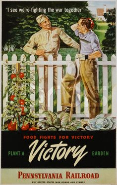 "Definitely planting a victory garden when I am in my first house. (""'Plant a Victory Garden' ~ WWII poster, c. Posters Vintage, Retro Poster, Vintage Advertisements, Vintage Ads, Vintage Food, Vintage Ephemera, Vintage Recipes, Ww2 Propaganda, Ww2 Posters"