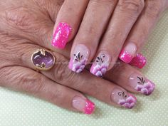 Pink gel polish with one stroke flower nail art