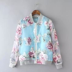 Long-Sleeved Zipper Floral Printed Sunscreen Jacket