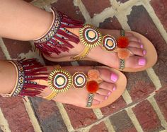 "Handmade Greek Sandal,  Ethnic ribbon, suede fringe, beaded trim, gold trim, pom pom's, tribal flowers ""TRIBE"""