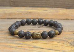 Black lava stone beaded stretchy bracelet with bronze by GAALco