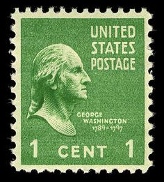 This green 1-cent George Washington stamp was the first stamp of the Presidential Series of 1938 issued. Millions of these stamps were issued, and they were seen on everyday mail through the late 1950s.