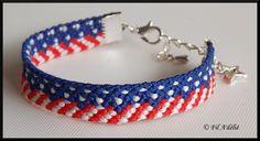 Bracelet brésilien représentant le drapeau américain avec fermoir et breloque étoile : http://filadelie.alittlemarket.com